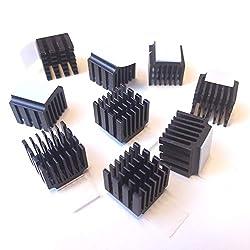 Easycargo 10pcs 14mm Heatsink + pre Applied 3M 8810 Thermal Conductive Adhesive Tape for Cooling VRAM VGA RAM 3D Printer Stepper Motor Driver Module TMC2100 LV8729 DRV8825 (10pcs 14x14x13mm Black)