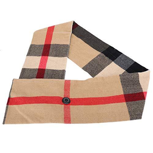 Bufanda calefactada cómoda a Cuadros Beige, Bufanda eléctrica portátil, Hermosa para Invierno...