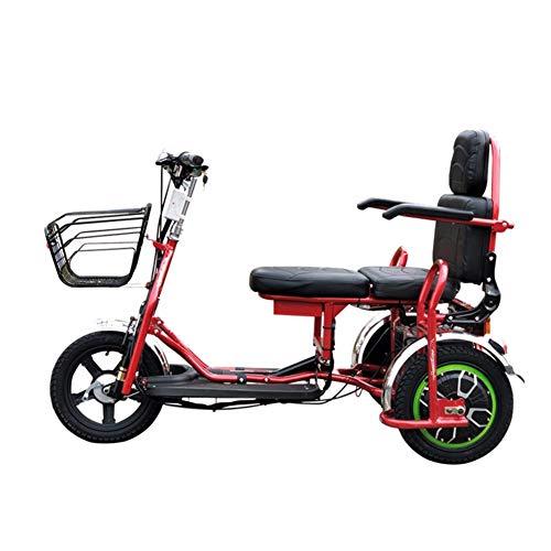 EmbLd Zusammenklappbares elektrisches Dreirad, tragbarer Elektromobil-Roller Mini-Zweisitzer für ältere Menschen mit Behinderung 48v12ah Blei-Säure-Batterie kann 35 km lang halten Red-12ah