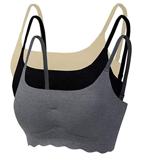 Acramy Damen Gepolsterter BH Push Up Ohne Bügel Sport Yoga Stretch Bustier 3er Pack (L, Mehrfarbig)