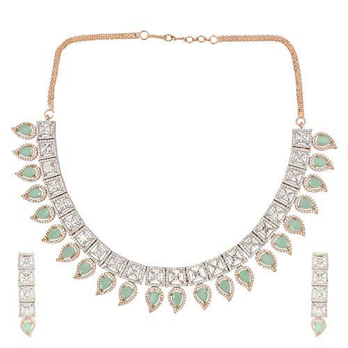 SONI SAPPHIRE - Parure composta da Collana e Orecchini placcati in Oro Rosa e Argento con Diamanti Indiani Americani e Verde Menta