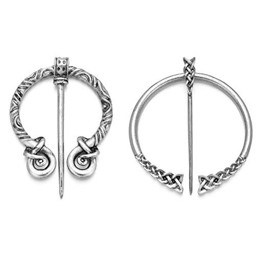 XGALA 2 Pcs New Delicate Vintage Silver Tone Viking Pin Clasp Cloak Pin Celtic Shawl Scarf Penannular Brooch Clothing Jewelry for Women
