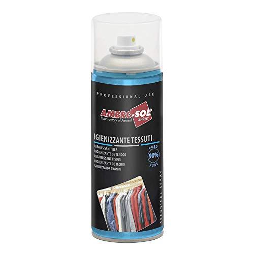 Ambro-Sol P320 Spray Igienizzante per Tessuti, Ideale su tutti i Tessuti sia Sintetici che Naturali come Cotone, Lana, Seta ecc, non Macchia, Bomboletta Spray in Banda Stagnata Riciclabile 400 ml