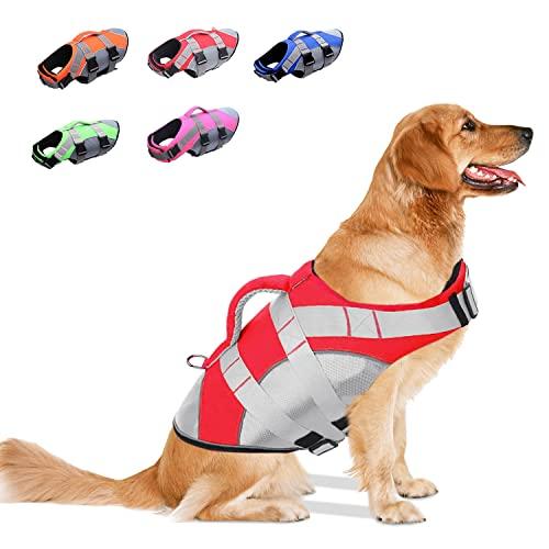 OEFWING Dog Life Jacket: Ripstop Safety Dog Life Vest Adjustable Dog...