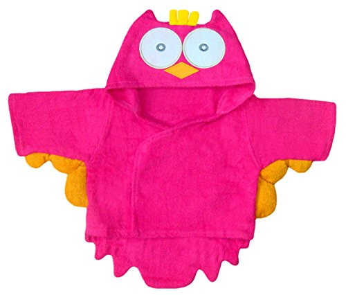 BOMIO | Baby Bademantel Eule | Baby Kapuzen-Bademantel aus 100% hautfreundlichem Frottee | waschmaschinenfest und trocknergeeignet | bis 80cm Körpergröße | Pink