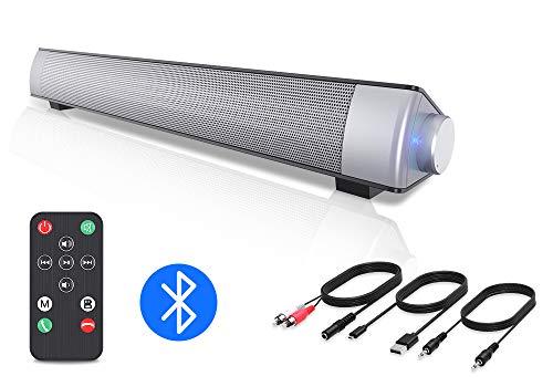 VersionTECH. PC Soundbar, kabelgebundene und drahtlose Bluetooth Computer Lautsprecher mit Fernbedienung, tragbar, USB, Heimkino, Stereo-Soundbar für Desktop, Laptop, TV, Handy, MP4 [RCA, AUX]