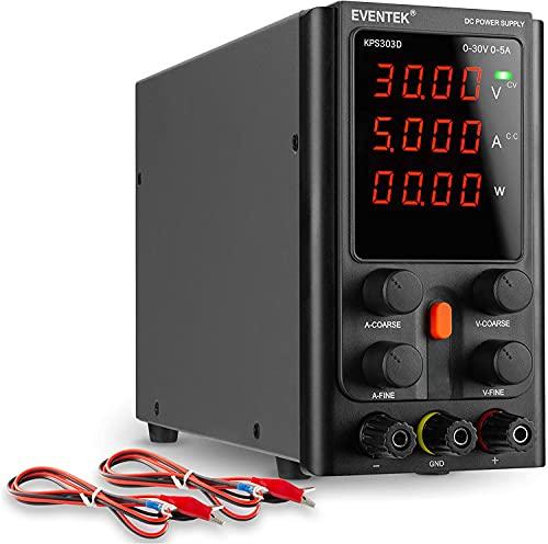 Fuentes de Alimentación Regulables, eventek Ajustable Fuente de alimentación 30V 5A de Regulada con Pantalla LED de 4 dígitos, Cable de Cocodrilo/líneas de Prueba