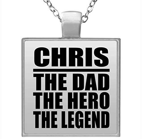 Chris The Dad The Hero The Legend - Square Necklace Collar, Colgante, Bañado en Plata - Regalo para Cumpleaños, Aniversario, Día de Navidad o Día de Acción de Gracias