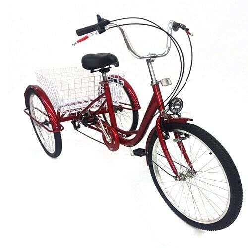 Triciclo per adulti – triciclo da 24 pollici per anziani, 6 marce, con cestino e lampada, 3 biciclette per adulti, Tricycle Comfort, per sport all'aria aperta, shopping
