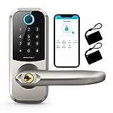 [2021 Newest]Smart Lock SMONET 5-in-1 Keyless Entry Fingerprint Door Lock, Bluetooth Lock with Reversible Handle, Work with Alexa (Need Extra Gateway),eKey,IC Card,App Auto Lock for Home,Hotel, Office