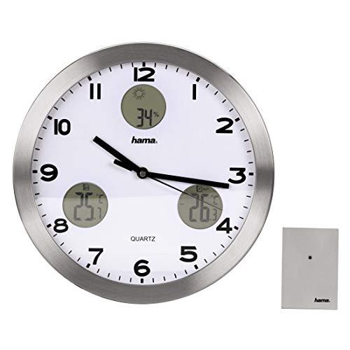 Hama AG-300 Wetterstation Wanduhr mit Thermometer, Hygrometer und Außensensor, silber