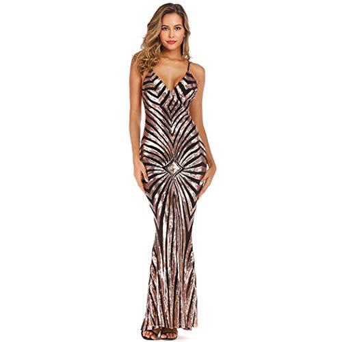 YYW Sexy Abendkleid für Damen, Meerjungfrauenkleid mit V-Ausschnitt und Pailletten für Party, Abschlussball, Hochzeit, Cocktailempfänge Gr. M, schwarz / goldfarben