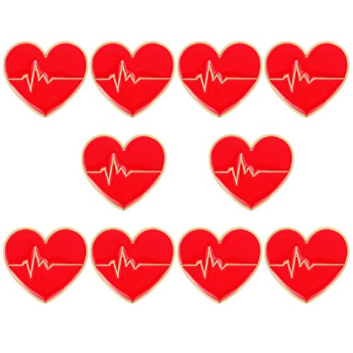 KESYOO 1 Paquete / 10 Piezas Broches de Diseño de Electrocardiograma Seminal Broches Creativos Multiusos en Forma de Corazón para Decoración de Mujeres