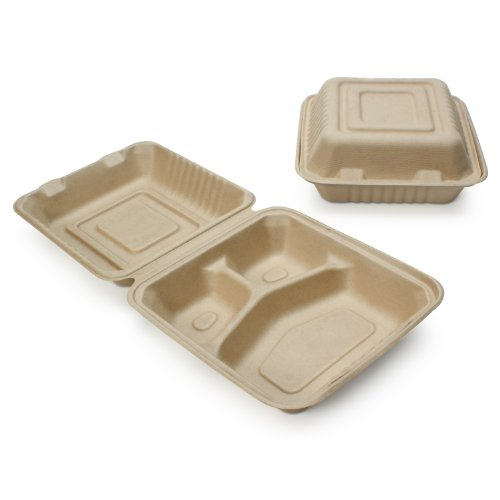 """100% Compostable Disposable Food Containers with Lids [8""""X8"""" 3-Comp 200 Pack] Eco-Friendly Take-Out TO-GO Containers, Heavy-Duty, Biodegradable, Unbleached by Earth"""
