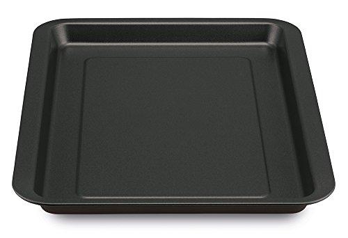 Guardini Pizza&Mania, Plaque à four rectangulaire 32 x 37 cm, acier avec revêtement anti-adhérent, couleur noire