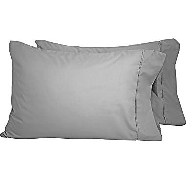 Bare Home Premium 1800 Ultra-Soft Microfiber Pillowcase Set - Double Brushed - Hypoallergenic - Wrinkle Resistant (King Pillowcase Set of 2, Light Grey)