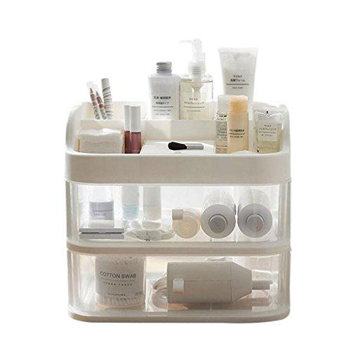 Coffrets de maquillage avec Miroir Transparent Portable Tiroir de Bureau Dressing Tables Boîte de Finition Skincare Racks (Edition : Two Layers)