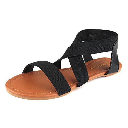 MUDAN Women's Elastic Flat Sandals (6 B (M) US, black-a)