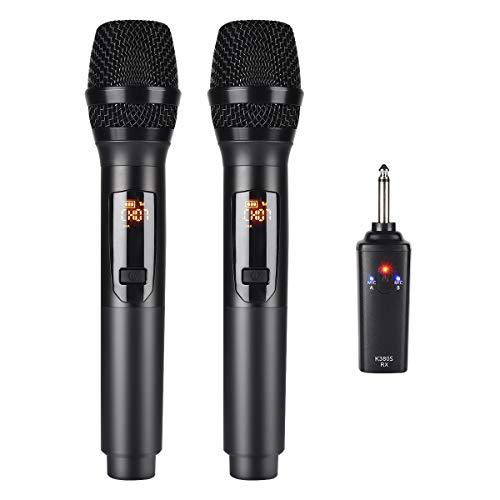 Kithouse K380S Wiederaufladbares Kabelloses Mikrofon, Funkmikrofon Karaoke-Mikrofon Funkmikrofon Dual Mit Empfängersystem Set - Professionelles dynamisches UHF-Handmikrofon