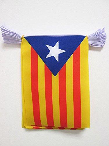 AZ FLAG Guirnalda 6 Metros 20 Banderas de CATALUÑA ESTELADA BLAVA 21x15cm - Bandera CATALANA INDEPENDENTISTA – Catalunya 15 x 21 cm - BANDERINES