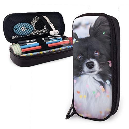 Estuche colorido de papel triturado con diseño de perro para niños y niñas, estuche grande para lápices y bolígrafos, para estudiantes, universidad, material escolar y oficina