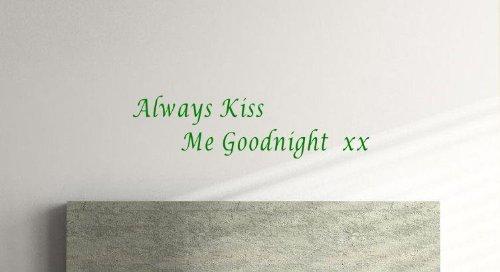 Kus me altijd welterusten Slaapkamer, Lounge, Keuken muur Vinyl Sticker (groot) (1m x 27cm) Groen
