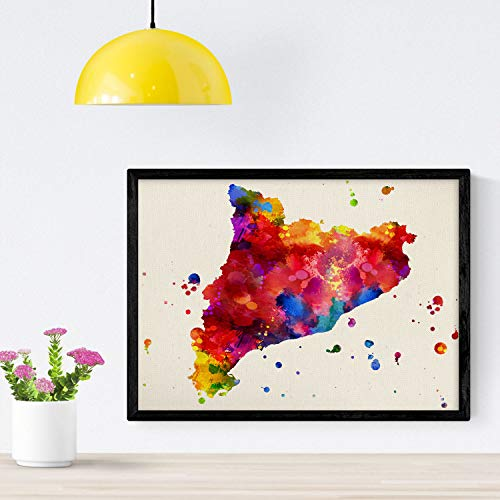 Nacnic Poster de Catalunya. Láminas e ilustraciones de ciudades, comunidades, y mapas de España. Tamaño A4