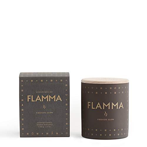 Skandinavisk Flamma (Flame) geurkaars met gravure beukenhouten deksel 190 g