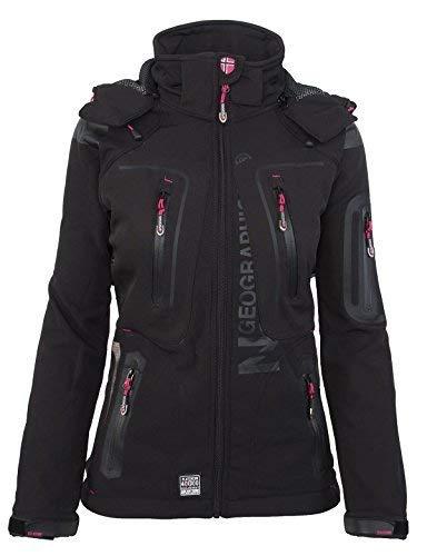 Geographical Norway - Chaqueta para mujer con capucha desmontable, Softshell, Tassion, para exteriores Negro XL