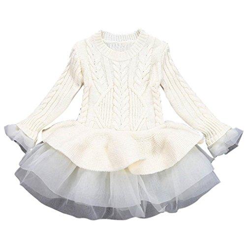 Bebé Chica otoño Invierno Tops Bebé suéteres de niña Jersey de Ganchillo Vestido tutú Tops Ropa 2-7 Años