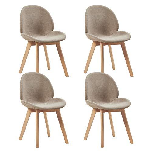 EGGREE 4er Set Polsterstuhlset Esszimmerstühle mit Sitzfläche aus Leinen Vintage Design und Buchebeine, Cremig Grau