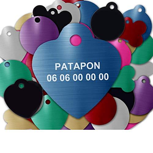 GRAVURE CONCEPT Médaille pour Chien Et Chat À Personnaliser – Médaillon Gravé 25 mm - 1 à 2 Lignes – 8 Couleurs Disponibles (Bleu, Coeur)