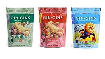 Gin Gins Gluten Free Vegan Ginger Candy 3 Flavor Variety Bundle 1 each  Original Spicy Apple Super Strength  3 Ounces