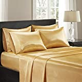 Madison Park Satin Wrinkle-Free Luxurious and Silky with 16' Deep Pocket 6 Piece Durable Sheet Set, Queen, Gold