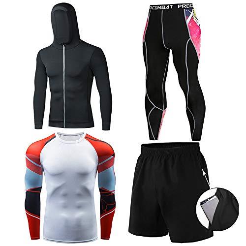 GHQYP Ropa Gimnasio Hombre,Chandals Poliester Hombre Adecuado para Gym,Ropa de Entrenamiento para Correr por la Noche/por la Mañana, Juego de 4 Piezas,Style10,M