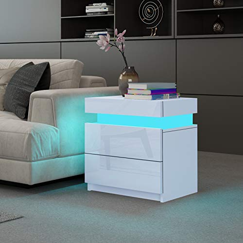 UNDRANDED Modern Sofa Side Tables Living Room High Gloss Front 2 Drawers Wood Side Table Cabinets with RGB LED Lights 45 x 35 x 52cm (White)