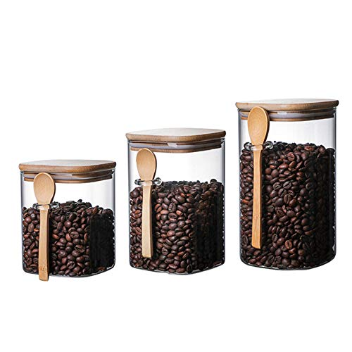 AWYGHJ 3 Pcs Glass Storage Jars, Borosilicate Glass Airtight Food Storage Canisters with Bamboo Lids and Wooden Spoon, 27oz, 34oz, 40oz, for Coffee Bean, Nuts, Candy