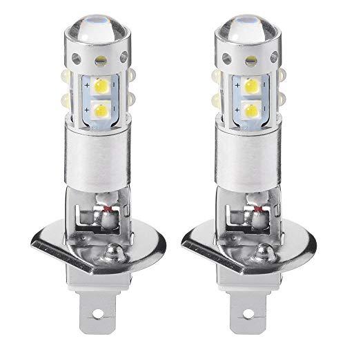 MASO Lot de 2 ampoules xénon à LED H1 7,5 W 6 000 K pour phare de voiture - Ultra lumineuses - Feux antibrouillard/de jour - Blanc