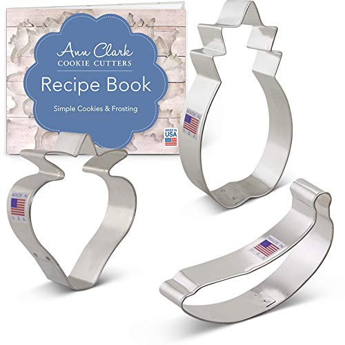 Ann Clark Cookie Cutters 3-Piece Fruit Cookie Cutter Set with Recipe Booklet, Strawberry, Banana and Pineapple