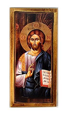 Handgefertigt aus Holz Griechisch Christian-orthodoxen Holz Icon von Jesus Christus/H3