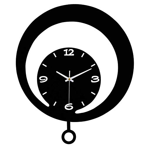 RHBNVR Wall Clocks, Modern Acrylic Decorative Wall Clock, Pendulum Sweep Movement Operated Silent Wall Clock, Battery Operation, Suitable for Teenagers, Boys and Girls
