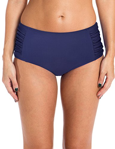 Ocean Blues Women's Ruched Bikini Bottom High Waisted Bathing Suit Navy Blue Size Small