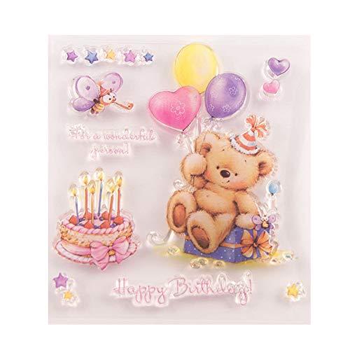Gelukkige Verjaardag Ballon Beer Cake Kaars Heldere Postzegels Clear Stempel/Seal Scrapbook/Foto Decoratieve Kaart Maken Clear Stempel
