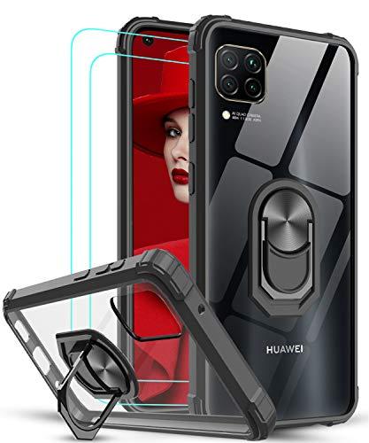 LeYi Funda Huawei P40 Lite 4G con [2-Unidades] Cristal Vidrio Templado,Transparente Carcasa con 360 Grados iman Soporte Silicona Bumper Antigolpes Armor Case para Movil P40 Lite,Clear Negro