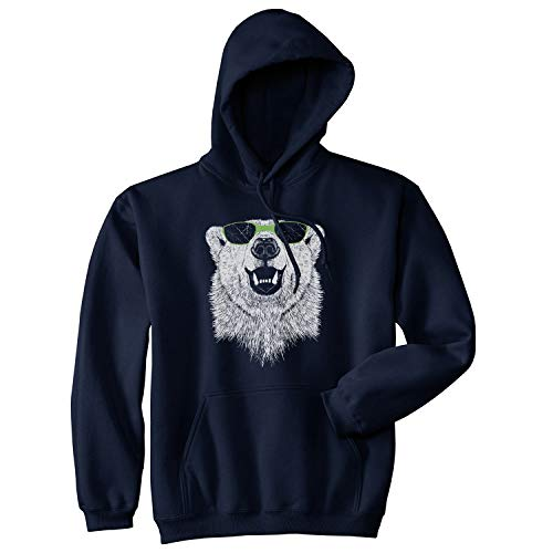Polar Bear in Sunglasses Graphic Funny Cool Unisex Pull Over Hoodie (Navy) - 3XL
