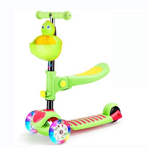 Moolo Scooter para niños, Scooter de Patinaje para niños de 3 Ruedas Scooter de Altura Ajustable Principiante con Asiento Ajustable extraíble LED Light Up Wheel Niños Niñas 2-12 años de Edad