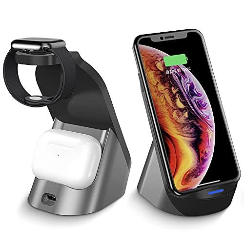 Estación de carga inalámbrica 3 en 1, cargador inalámbrico para Apple Watch SE/6/5/4/3/2, AirPods Pro/2, estación de carga inalámbrica y base para iPhone 12/12 Pro Max/SE/11 Series/X/XS/XR / 8 Plus