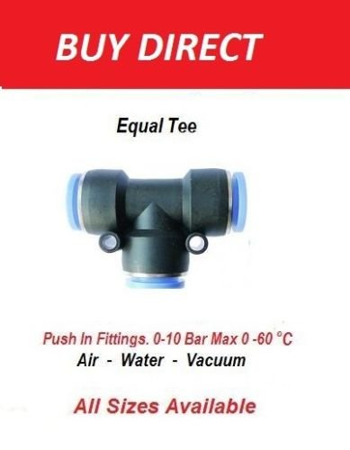 Type T Pneumatic Push in Fittings Air Eau Tuyau Tube Pipe Connecteur Tee Joine
