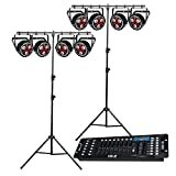 8X CHAUVET DJ FXpar 3 – Compact PAR Effect, 2X CHAUVET DJ CH06 Stand, 1x CO-Z 192 DMX 512 Light Controller Package