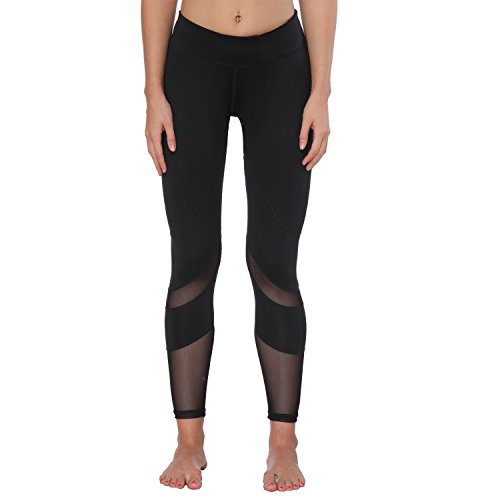 Yoga Pants, FEIVO Women's Power Flex Yoga Pants Tummy Control Workout Yoga Capris Pants Leggings,Mesh-black2,Large